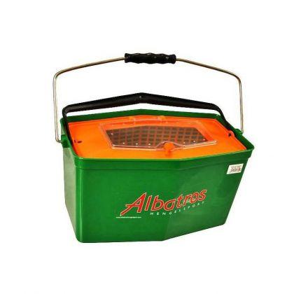 Albatros Plastic Aasketel oranje - groen visemmer 7l