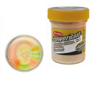 Berkley Powerbait Double Glitter Twist Trout chartreuse white orange  50g