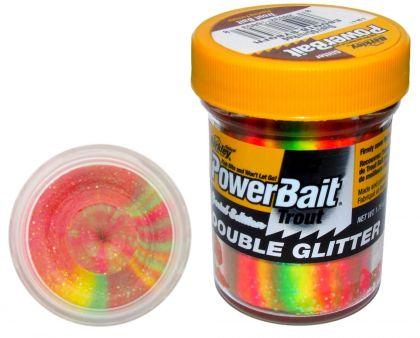 Berkley Powerbait Double Glitter Twist Trout green yellow red forel forelaas 50g