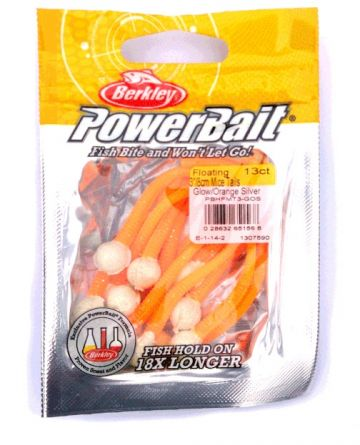 Berkley Powerbait Floating Mice Tails glow - orange silver forel forelaas 8cm