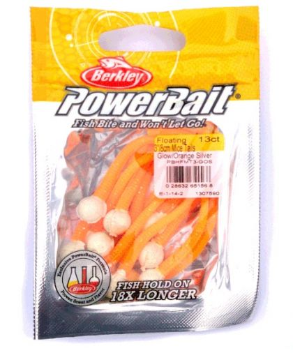 Berkley Powerbait Floating Mice Tails glow - orange silver  8cm