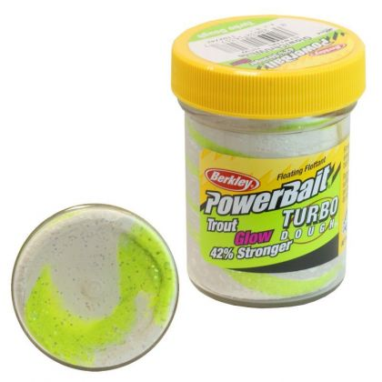 Berkley Powerbait Glow-In-The-Dark Trout Bait glow chartreuse - white  50g