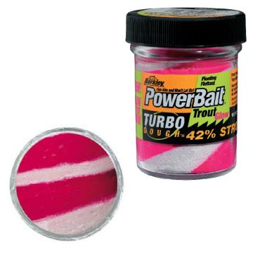 Berkley Powerbait Glow-In-The-Dark Trout Bait glow fluo red - white forel forelaas 50g