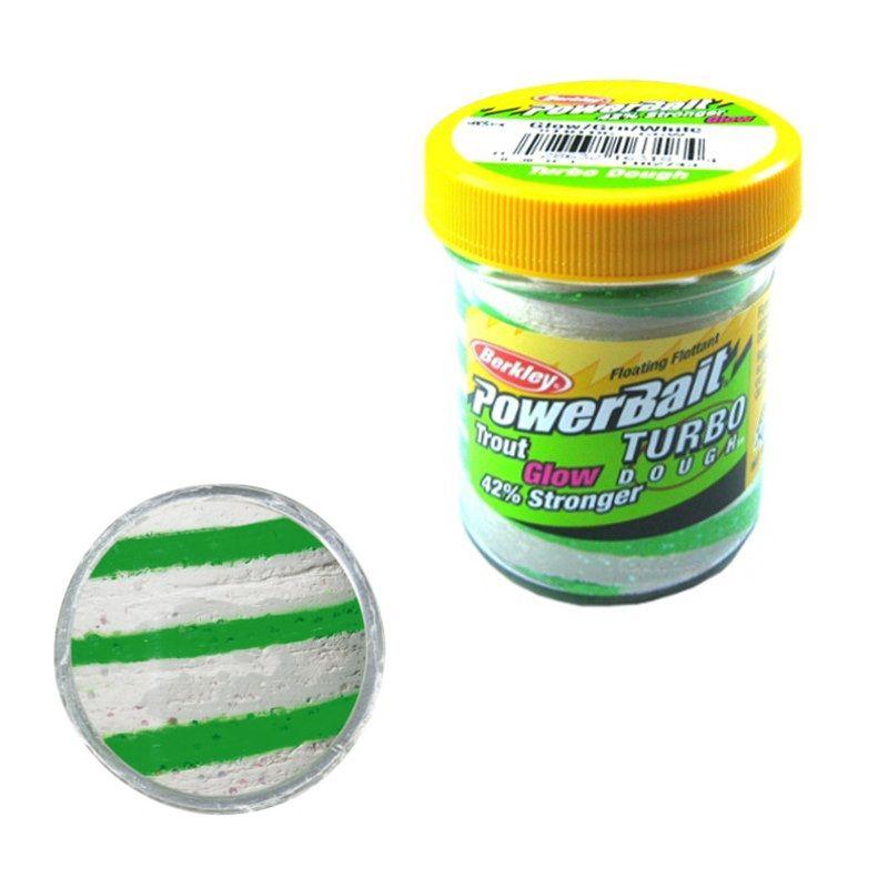Berkley Powerbait Glow-In-The-Dark Trout Bait glow green - white forel forelaas 50g