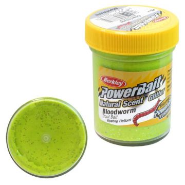 Berkley Powerbait Natural Glitter Trout Bait bloodworm chartreuse
