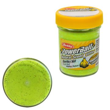 Berkley Powerbait Natural Glitter Trout Bait garlic chartreuse