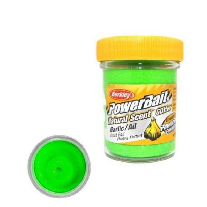 Berkley Powerbait Natural Glitter Trout Bait garlic spring green