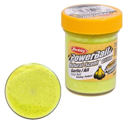 Berkley Powerbait Natural Glitter Trout Bait garlic sunshine yellow forel forelaas