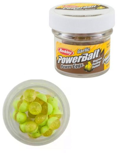 Berkley Powerbait Power Eggs Floating Garlic clear silver fluo yellow forel forelaas
