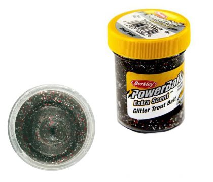 Berkley Powerbait Select Glitter Trout Bait black glitter forel forelaas 50g