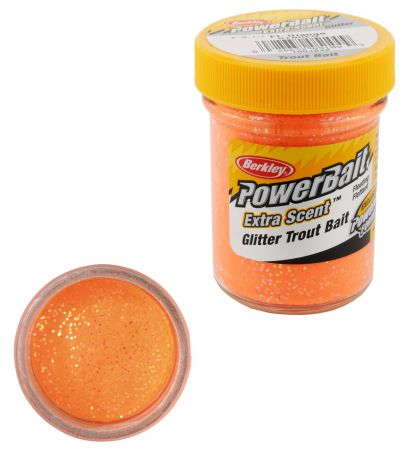 Berkley Powerbait Select Glitter Trout Bait fluorescent orange forel forelaas 50g