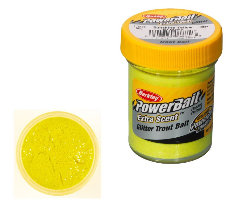 Berkley Powerbait Select Glitter Trout Bait sunshine yellow forel forelaas 50g
