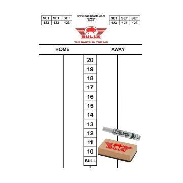 Bulls Darttel Flex Scorebord wit 45x30cm