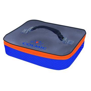 Colmic Plastic Bait Box Holder blauw - oranje - wit foreltas witvistas