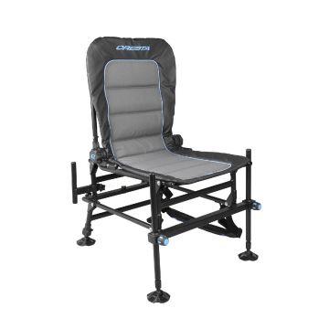 Cresta Blackthorne Comfort Chair High zwart - grijs - blauw visstoel 92x62x19cm