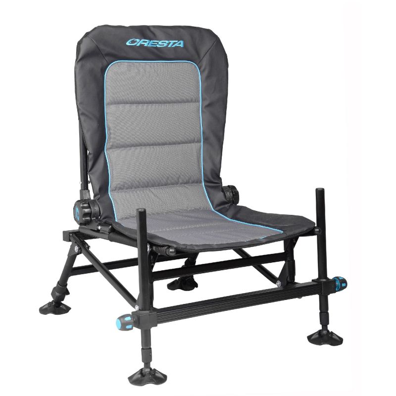 Cresta Blackthorne Compact Chair 2.0 zwart - grijs - blauw visstoel 80x62x17cm