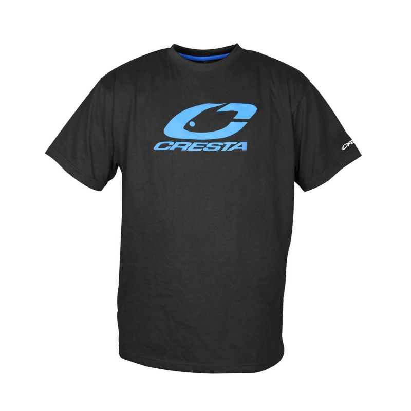Cresta T-Shirt zwart - blauw vis t-shirt Medium