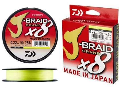 Daiwa J-Braid Grand X8 yellow gevlochten visdraad 0.16mm 135m