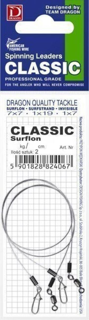 Dragon Classic Surflon 7x7 zilver - bruin roofvis roofvis onderlijn 40cm 12kg