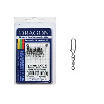 Dragon Spin Lock Snap With Swivel ZILVER viswartel 2/0