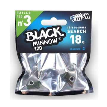 Fiiish Black Minnow Jig Head Search khaki loodkop N°3 18g