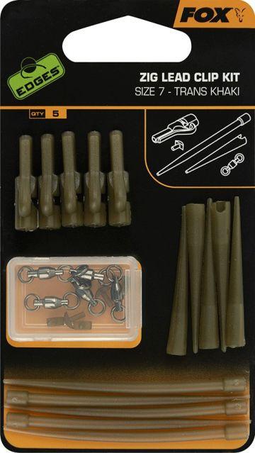 Fox Edges Zig Lead Clip Kit trans khaki karper oppervlakte visserij Size 7