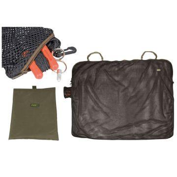 Fox Safety Carp Sack + Mini H-Blok zwart - groen karper bewaarzak