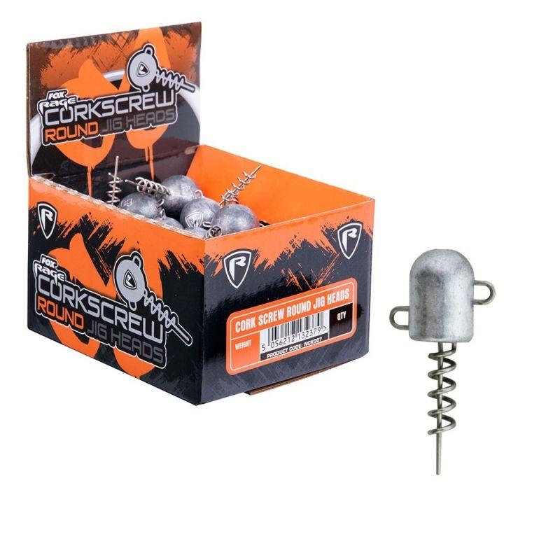 Foxrage Corkscrew Bullet Jig heads per stuk zilver roofvis vislood 40g