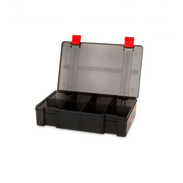 Foxrage Stack N Store Lure Box ZWART - ROOD roofvis visdoos 8 Compart Shallow