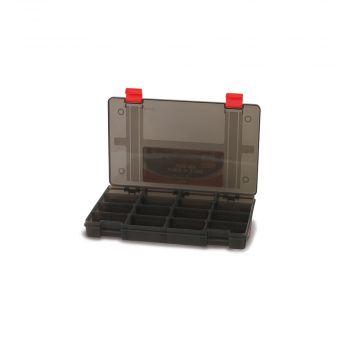 Foxrage Stack N Store Lure Box ZWART - ROOD roofvis visdoos 16 Compart Shallow Medium