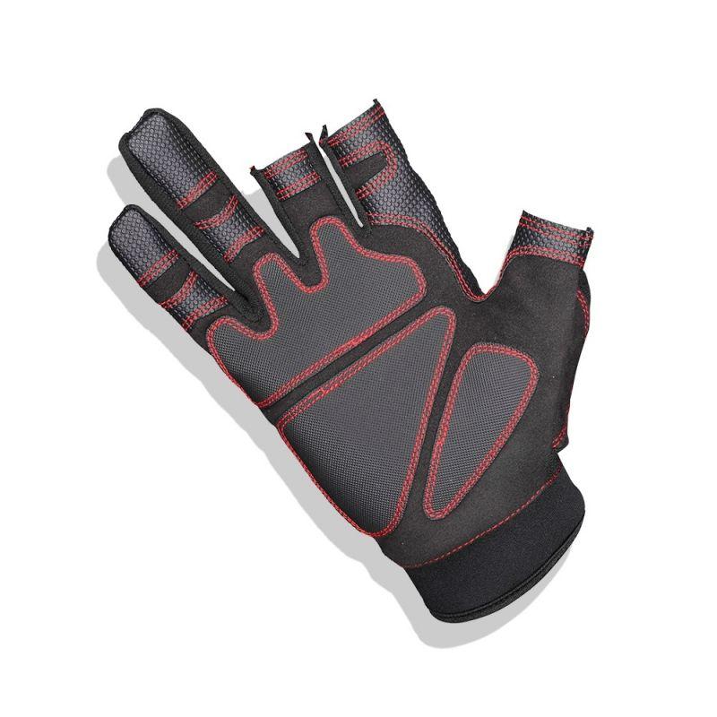 Gamakatsu Armor Gloves 3 Finger Cut zwart - rood handschoen Large