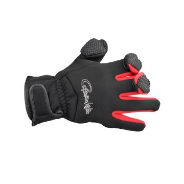 Gamakatsu Power Thermal Gloves zwart - rood handschoen Large