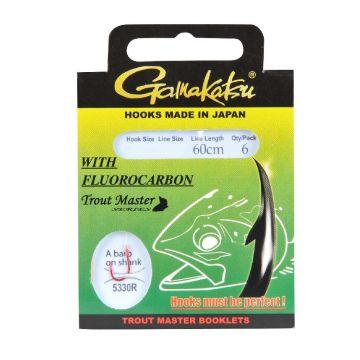 Gamakatsu Trout Master Fluorocarbon LS-5330 rood - clear forel forel onderlijn H6 0.18mm 60cm