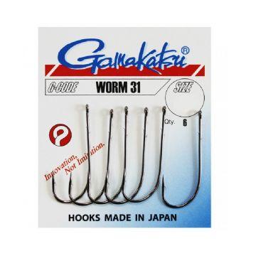Gamakatsu Worm 31 zwart vishaak 2/0