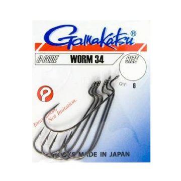 Gamakatsu Worm 34 zwart roofvis vishaak 1/0