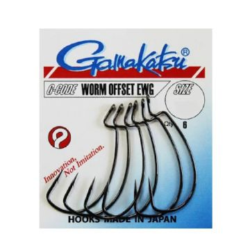 Gamakatsu Worm Offset EWG zwart roofvis vishaak 2/0