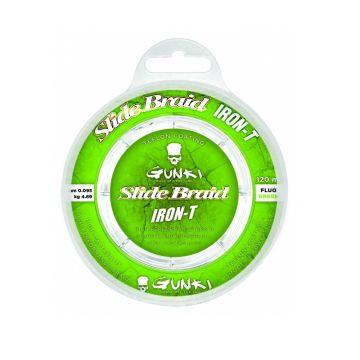 Gunki Slide Braid Iron-T fluo green gevlochten visdraad 0.119mm 120m