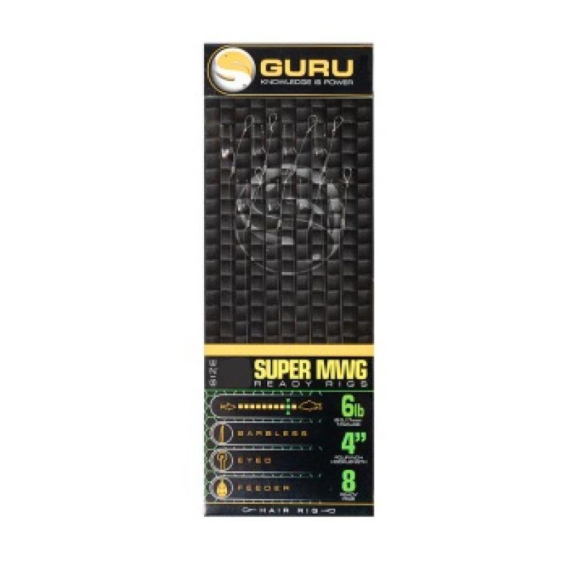 """Guru SMWG Standard Hair Ready Rig clear witvis witvis onderlijn H10 4"""" 0.19mm"""