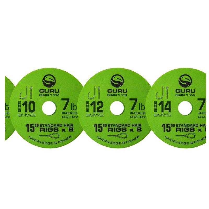"""Guru SMWG Standard Hair Ready Rig clear witvis witvis onderlijn H16 15"""" 0.17mm"""