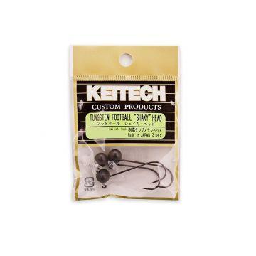 Keitech Tungsten Football Shaky Head ZWART - NICKEL loodkop 3/0 1.8g