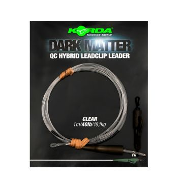 Korda Dark Matter Leader QC Hybrid Leadclip clear karper lood systeem 40lb 1m00