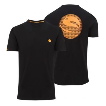 Korda Gradient Logo Tee Black zwart - oranje vis t-shirt Medium
