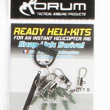 Korum Ready Heli-Kits Snaplink Swivel nickel - groen klein vismateriaal