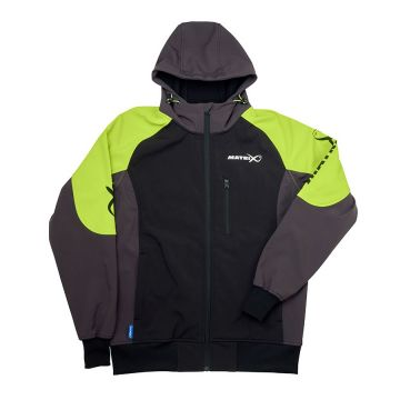 Matrix Soft Shell Fleece zwart - groen - grijs visjas Medium