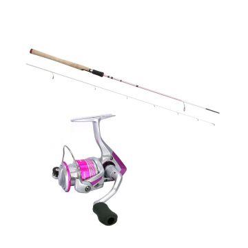 Okuma Pink Pearl Rod + Pink Pearl Molen zwart - grijs - roze roofvis spinhengelset 5-20g 30