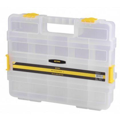 Predator HD Tackle Box transparant - geel roofvis visdoos 37.5x29x6.7cm