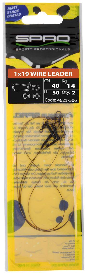 Predator Matte Black Leader 1x19 Wire noir - nickel  25cm 0.40mm 9.1kg
