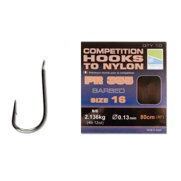Preston Innovations Competition Hooks To Nylon PR355 clear - nickel witvis witvis onderlijn H16 80cm 0.13mm
