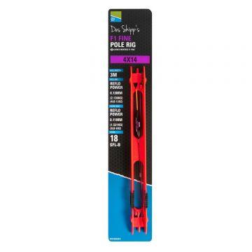 Preston Innovations F1 Fine Pole Rig noir - clair  4x16 0.13-0.11mm H18
