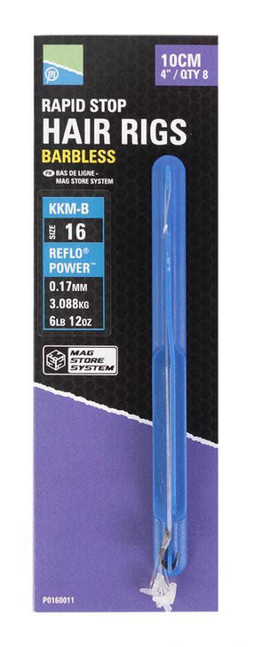 Preston Innovations KKM-B Mag Store Rapid Stop Hair Rig clear - nickel witvis witvis onderlijn H18 10cm 0.17mm